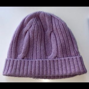 💜J.CREW CASHMERE RIBBED CABLE KNIT BEANIE
